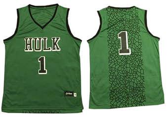 The Hulk #1 Green Stitched Basketball Jersey