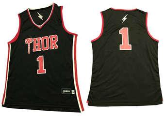Thor #1 Black Stitched Basketball Jerse