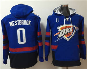 Thunder #0 Russell Westbrook Blue Name & Number Pullover Basketball Hoodie