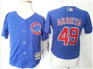 Toddler Chicago Cubs #49 Jake Arrieta Blue Cool Base Stitched Baseball Jersey