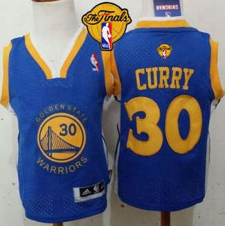 Toddler Golden State Warriors #30 Stephen Curry Blue The Finals Patch Stitched Basketball Jersey 1