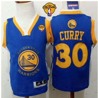 Toddler Golden State Warriors #30 Stephen Curry Blue The Finals Patch Stitched Basketball Jersey 2