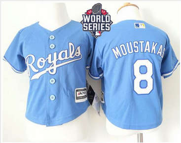 Toddler Kansas City Royals #8 Mike Moustakas Light Blue Alternate 1 Cool Base W 2015 World Series Patch Stitched Baseball Jersey