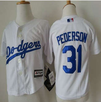 Toddler Los Angeles Dodgers #31 Joc Pederson White Cool Base Stitched Baseball Jersey