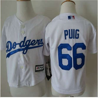 Toddler Los Angeles Dodgers #66 Yasiel Puig White Cool Base Stitched Baseball Jersey
