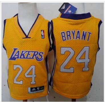 Toddler Los Angels Lakers #24 Kobe Bryant Gold Stitched Basketball Jersey