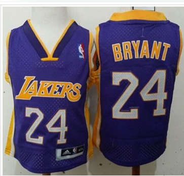 Toddler Los Angels Lakers #24 Kobe Bryant Purple Stitched Basketball Jersey