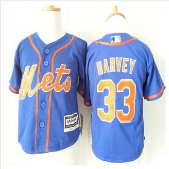 Toddler New York Mets #33 Matt Harvey Blue Alternate Home Cool Base Stitched Baseball Jersey