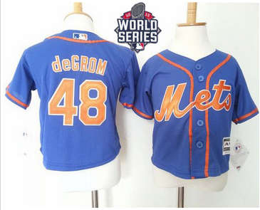 Toddler New York Mets #48 Jacob DeGrom Blue Alternate Home Cool Base W 2015 World Series Patch Stitched Baseball Jersey