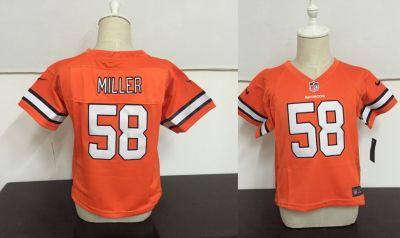 Toddler  Broncos #58 Von Miller Orange Stitched Football Infant Jersey