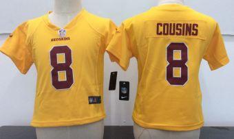 Toddler  Redskins #8 Kirk Cousins Gold Stitched Football Infant Jersey