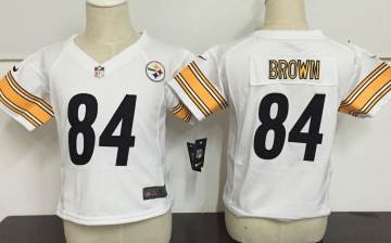 Toddler  Steelers #84 Antonio Brown White Stitched Football Infant Jersey