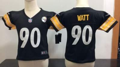 Toddler  Steelers #90 T. J. Watt Black Stitched Football Infant Jersey