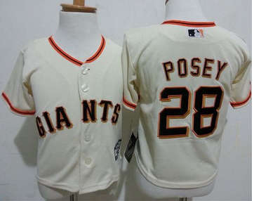 Toddler San Francisco Giants #28 Buster Posey Cream Stitched Baseball Jersey
