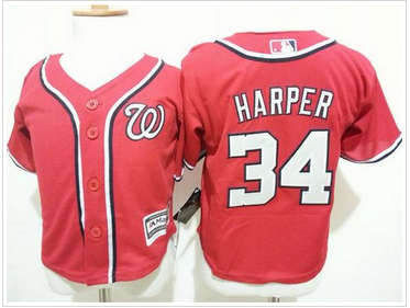Toddler Washington Nationals #34 Bryce Harper Red Cool Base Stitched Baseball Jersey