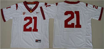 Trojans #21 Adoree' Jackson White PAC-12 C Patch Stitched NCAA Jersey