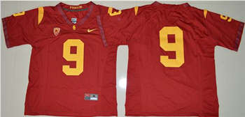 Trojans #9 JuJu Smith-Schuster Red PAC-12 C Patch Stitched NCAA Jersey