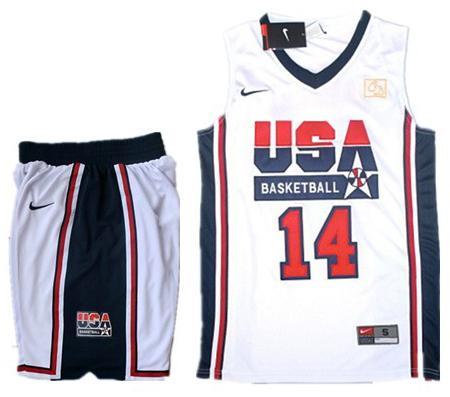 USA Basketball Retro 1992 Olympic Dream Team White Jersey & Shorts Suit #14 Charles Barkley