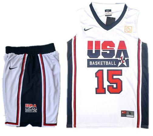 USA Basketball Retro 1992 Olympic Dream Team White Jersey & Shorts Suit #15 Carmelo Anthony