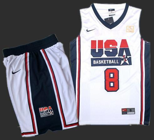 USA Basketball Retro 1992 Olympic Dream Team White Jersey & Shorts Suit #8 Scottie Pippen