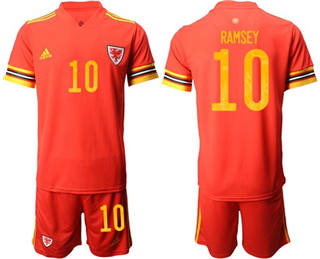 Wales #10 Ramsey Red Home Soccer Country Jersey