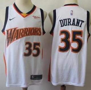 Warriors #35 Kevin Durant White Throwback Basketball Swingman Hardwood Classics 2009-10 Jersey