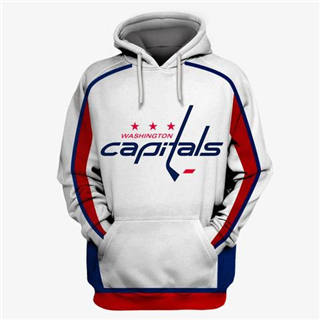Washington Capitals White All Stitched Hooded Sweatshirt