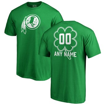 Washington Redskins St. Patrick's Day Personalized Name & Number T-Shirt - Kelly Green