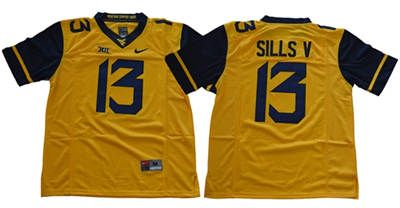West Virginia Mountaineers #13 David Sills V Gold Limited Stitched NCAA Jersey