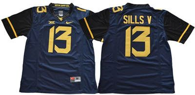 West Virginia Mountaineers #13 David Sills V Navy Blue Limited Stitched NCAA Jersey