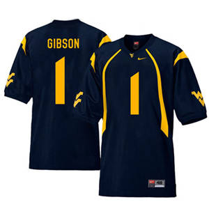 West Virginia Mountaineers 1 Shelton Gibson Navy College Football Jersey