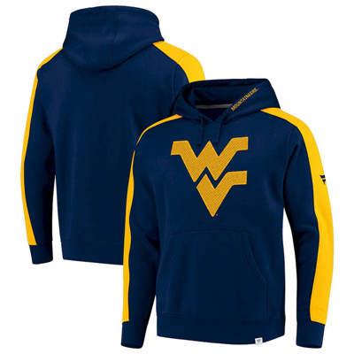 West Virginia Mountaineers Iconic Colorblocked Fleece Pullover Hoodie - Navy