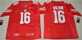 Wisconsin Badgers #16 Russell Wilson Red Under Armour Stitched NCAA Jersey