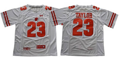 Wisconsin Badgers #23 Jonathan Taylor White Under Armour Stitched NCAA Jersey