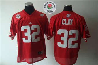 Wisconsin Badgers #32 John Clay Red Rose Bowl Game Stitched NCAA Jersey