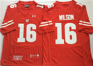 Wisconsin Badgers 16 Russell Wilson Red NCAA College Football Jersey