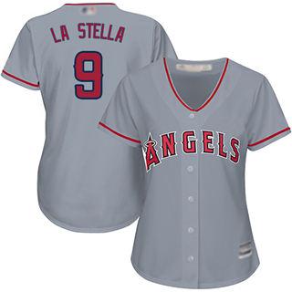 Women's Angels #9 Tommy La Stella Grey Road Stitched Baseball Jersey