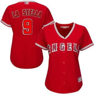 Women's Angels #9 Tommy La Stella Red Alternate Stitched Baseball Jersey