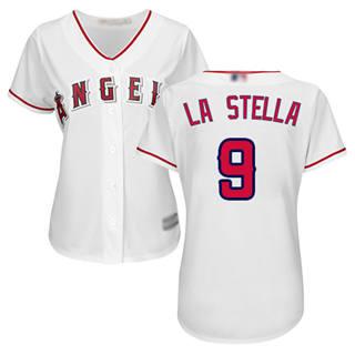 Women's Angels #9 Tommy La Stella White Home Stitched Baseball Jersey