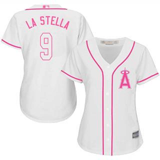 Women's Angels #9 Tommy La Stella White Pink Fashion Stitched Baseball Jersey
