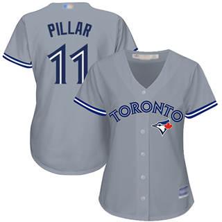 Women's Blue Jays #11 Kevin Pillar Grey Road Stitched Baseball Jersey