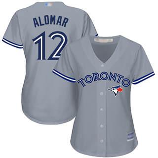 Women's Blue Jays #12 Roberto Alomar Grey Road Stitched Baseball Jersey