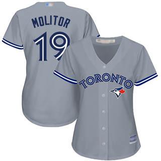 Women's Blue Jays #19 Paul Molitor Grey Road Stitched Baseball Jersey