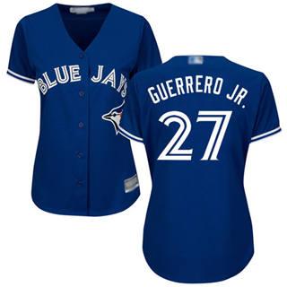 Women's Blue Jays #27 Vladimir Guerrero Jr. Blue Alternate Stitched Baseball Jersey