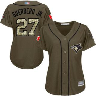 Women's Blue Jays #27 Vladimir Guerrero Jr. Green Salute to Service Stitched Baseball Jersey