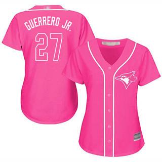 Women's Blue Jays #27 Vladimir Guerrero Jr. Pink Fashion Stitched Baseball Jersey