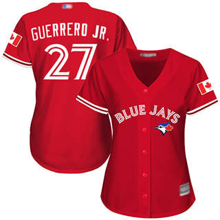 Women's Blue Jays #27 Vladimir Guerrero Jr. Red Canada Day Stitched Baseball Jersey