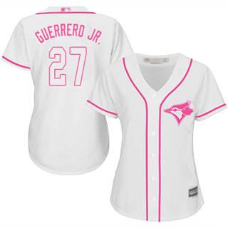 Women's Blue Jays #27 Vladimir Guerrero Jr. White Pink Fashion Stitched Baseball Jersey