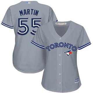 Women's Blue Jays #55 Russell Martin Grey Road Stitched Baseball Jersey