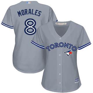 Women's Blue Jays #8 Kendrys Morales Grey Road Stitched Baseball Jersey